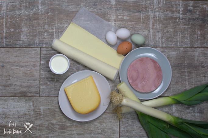 6 Zutaten für die Lauchtorte mit Blätterteig