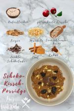 Zutaten im Schoko-Kirsch Porridge Mix