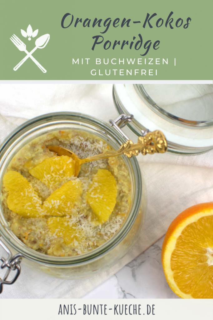 Glutenfreies Porridge mit Buchweizen und Orangengeschmack.
