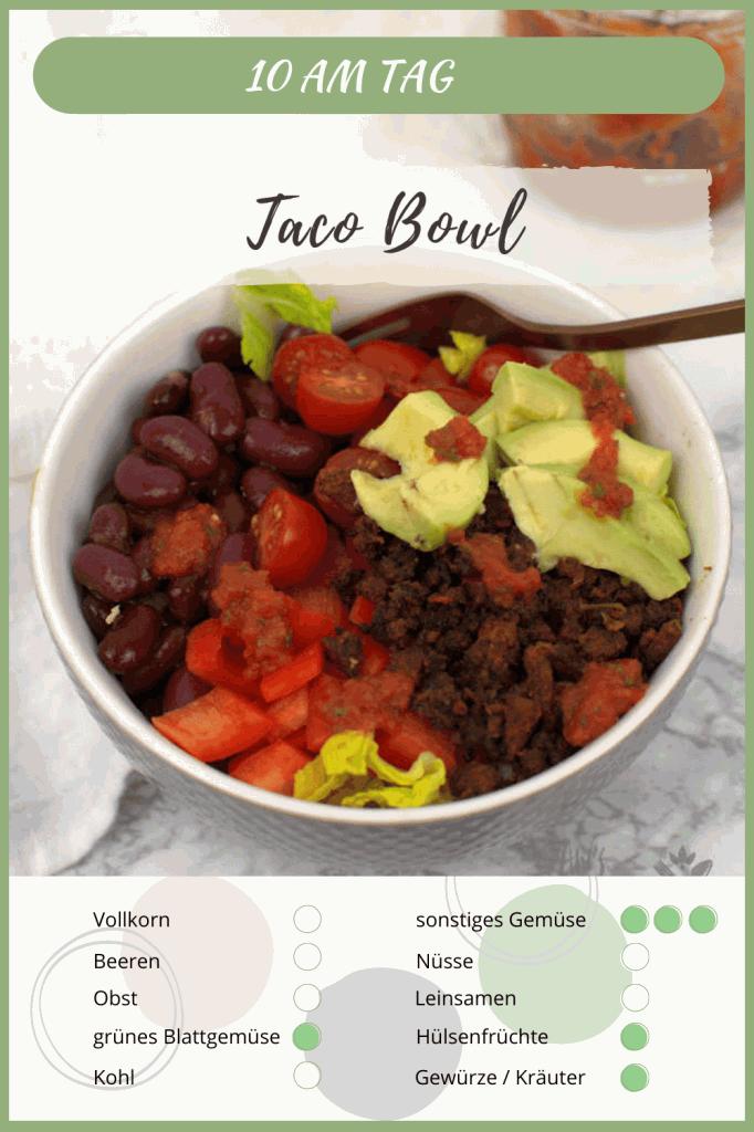 10 am Tag Lebensmittel der mexikanischen Taco Bowl mit Tofu