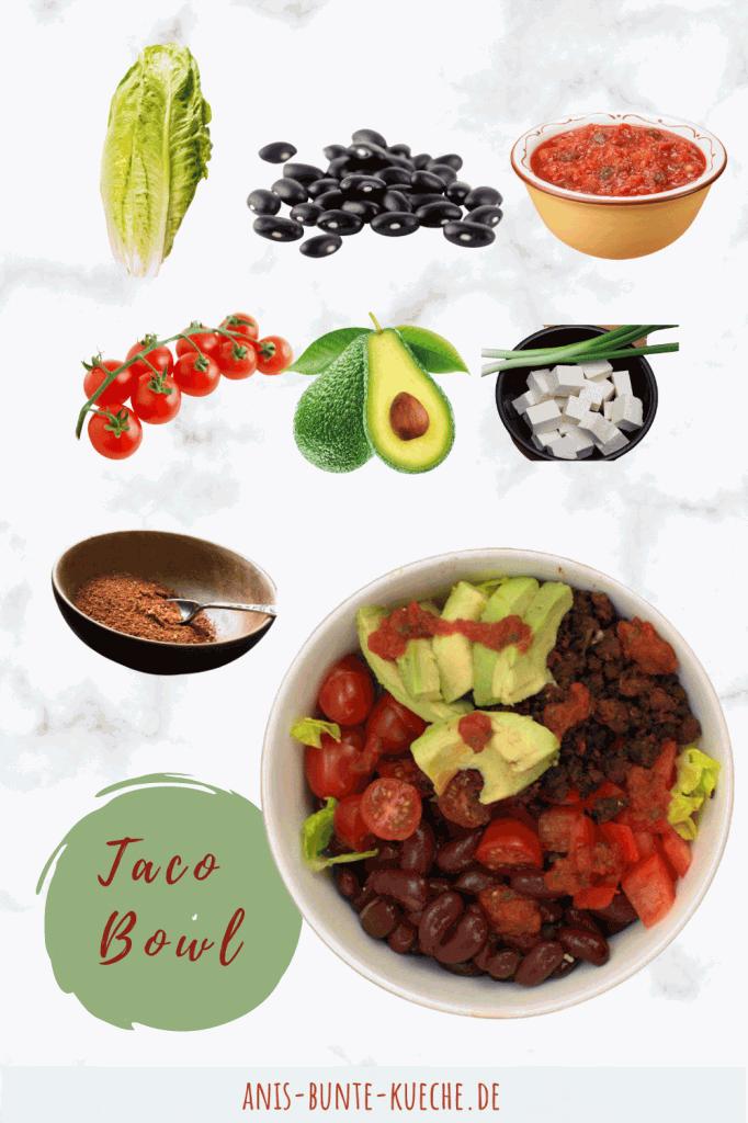 Die Zutaten für die vegane Taco Bowl