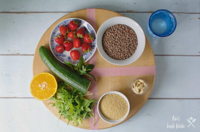Linsensalat - Zutaten nach der Tellermethode